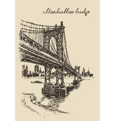 Manhattan bridge new york united states sketch vector
