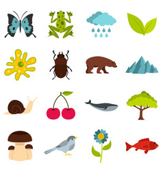 nature items set flat icons vector image