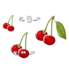 Red cherry fruits cartoon character vector image vector image