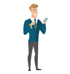 caucasian groom holding a mobile phone vector image