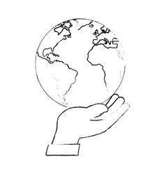 hand human protection with world planet vector image vector image