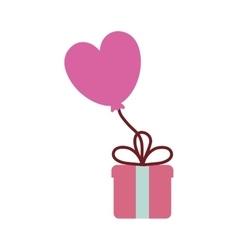 pink gift box balloon heart festive valentine vector image vector image