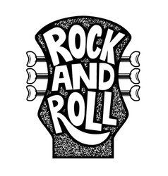 rock and roll hand drawn phrase on guitar neck vector image
