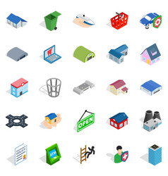 town hall icons set isometric style vector image vector image