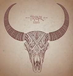 Decorative indian bull skull in tribal style on vector image