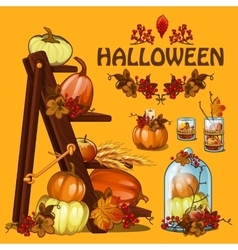 Halloween autumn card with pumpkin and leaves vector image