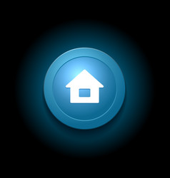 Home Button Modern Glossy Blue Design vector image