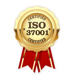 iso 37001 standard certified rosette vector image vector image