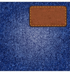 Jeans texture with leather label vector image