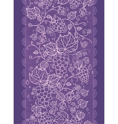 Lace grape vines vertical seamless pattern vector image