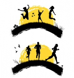 people jumping silhouette vector image vector image