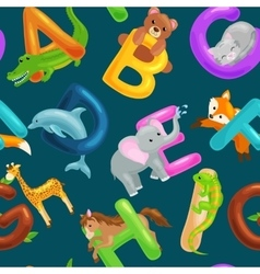 Seamless pattern with cartoon animals alphabet for vector image vector image