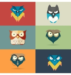 Set cute stylized cartoon icons of owls vector image vector image