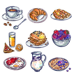 food breakfast icon set vector image vector image