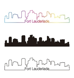 Fort Lauderlade skyline linear style with rainbow vector image vector image