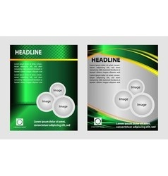 Green brochure with circles and wave for template vector image vector image