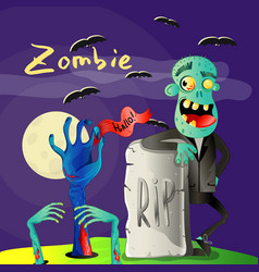 halloween poster with zombie near rip gravestone vector image vector image