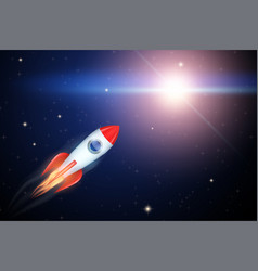 rocket flies to the star vector image
