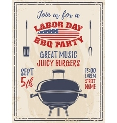 Vintage Labor Day barbecue party background vector image vector image