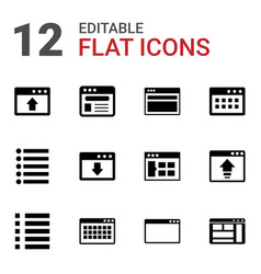 12 browser icons vector image