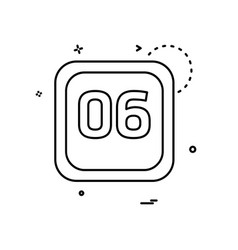 6 date calender icon design vector