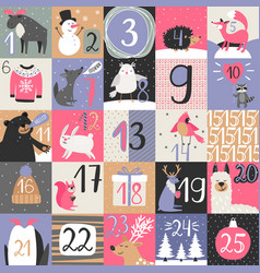 advent calendar with winter animals vector image