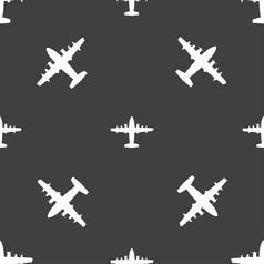 aircraft icon sign Seamless pattern on a gray vector image