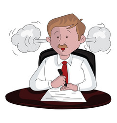 An angry businessman at work vector