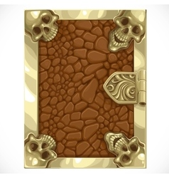 Antique book cover shut with leather texture and vector