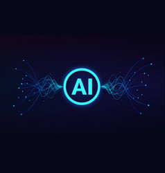 artificial intelligence concept ai text in center vector image