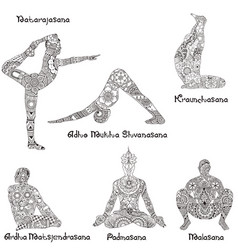 Asanas in yoga vector