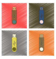 Assembly flat shading style icon flash drive vector