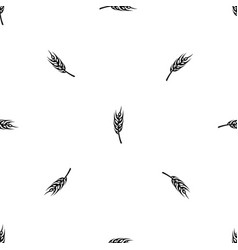 Barley spike pattern seamless black vector