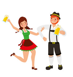 Bavarian man and woman with beer glasses vector