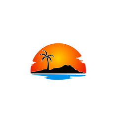 Beach palm tree holiday landscape logo vector