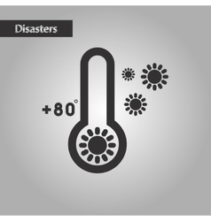 Black and white style thermometer hot weather vector