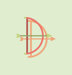 Bow and arrow icon in flat style in sticker style vector