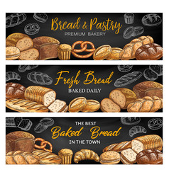 bread and bakery shop sketch banners vector image