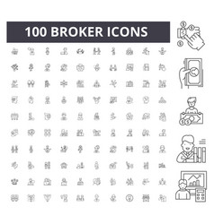Broker line icons signs set outline vector