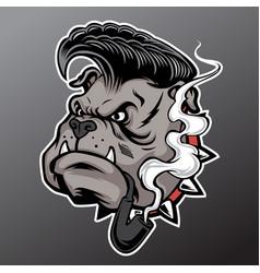 Bulldog head mascot pipe smoking vector