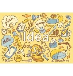 Business Idea doodles icon set sketch drawn vector image