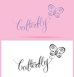 Butterfly lettering vector