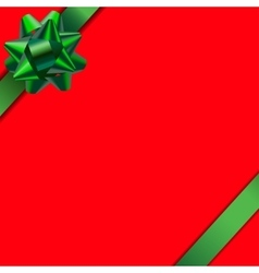 Card with red background and green ribbon vector image