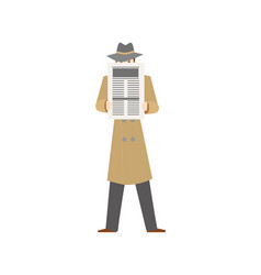 cartoon character private detective with newspaper vector image