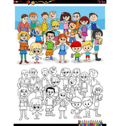 cartoon children characters group coloring book vector image
