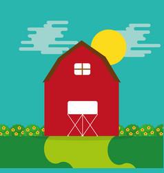 cartoon farm wooden barn garden flower and sun vector image