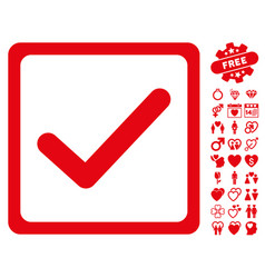 Checkbox icon with valentine bonus vector