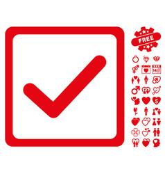checkbox icon with valentine bonus vector image