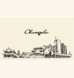 chengdu skyline sichuan china drawn sketch vector image