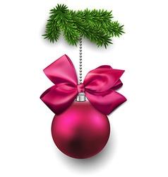 Christmas ball on fir twigs vector image